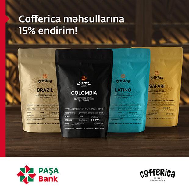 PAŞA Bank kartı sahibləri Cofferica Coffee Roasters-dən endirim qazanır!