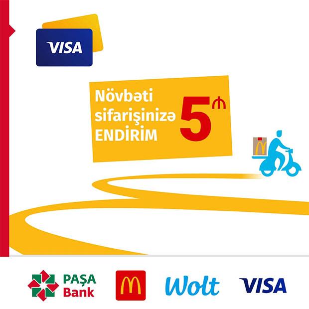 PAŞA Bankın VISA kart sahibləri McDonald's sifarişlərindən bonus qazanır!