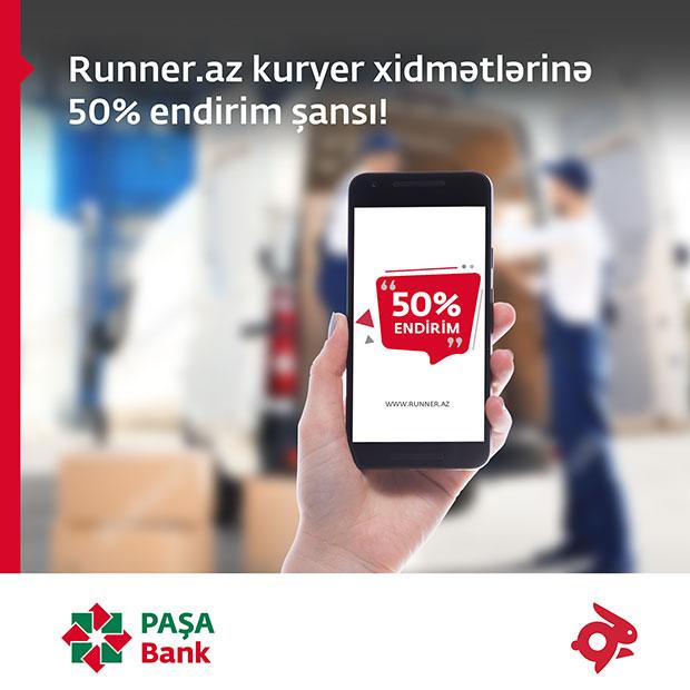 """PAŞA Bank kart sahibləri """"Runner""""-dən çatdırılma xidmətinə 50% endirim əldə edir!"""
