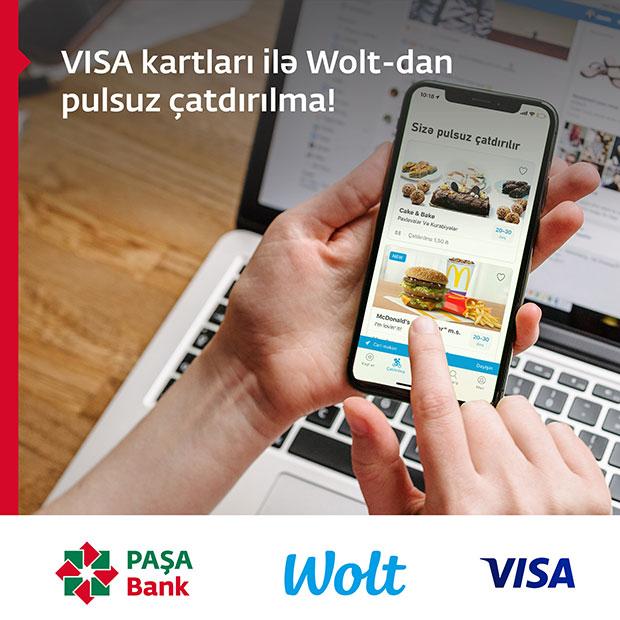 PAŞA Bank VISA kart sahibləri Wolt-dan sifariş etdikdə pulsuz çatdırılma qazanır!